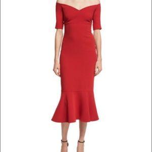 Cinq a Sept MARTA red off shoulder dress SIZE 2